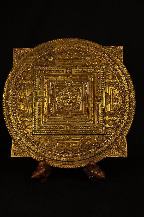 曼荼羅 銅盤打ち出し鍍金仕上げ
