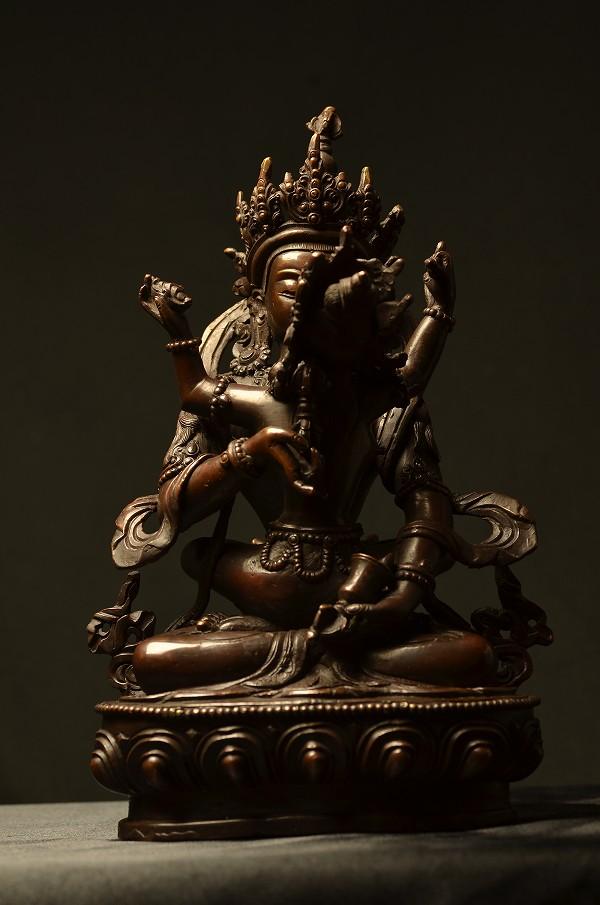 普賢シャクティ(歓喜仏)銅造製彫金仕上げ
