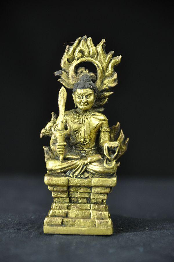 極小仏像 不動明王 銅造鍍金仕上げ(金銅仏)