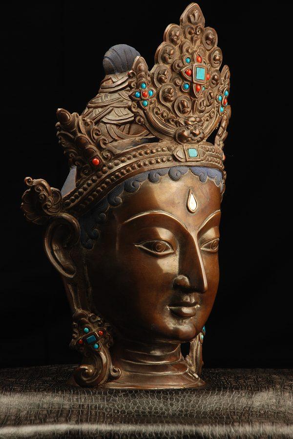 仏像 菩薩仏頭 銅造彫金仕上げ 一点もの