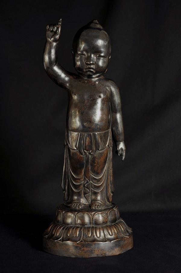 釈迦誕生仏 銅造彫金仕上げ