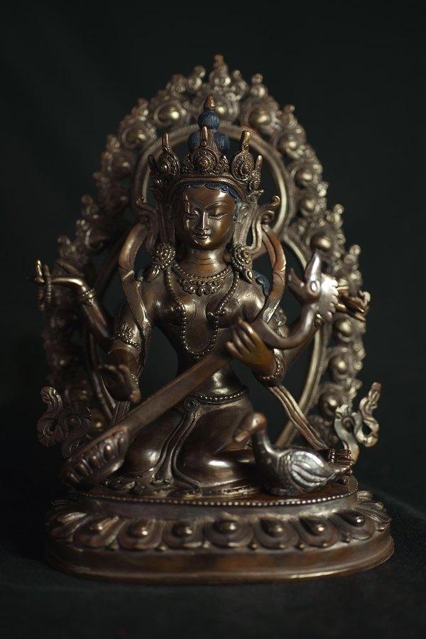 弁財天(サラスバティー) 銅造彫金仕上げ