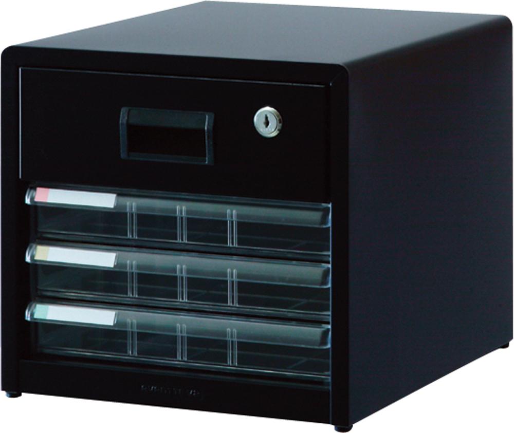 収納ボックス レターケース 書類ボックス 収納ケース 書類ケース 引き出し 書類収納 スチール 鍵付き AL-R4 クロ