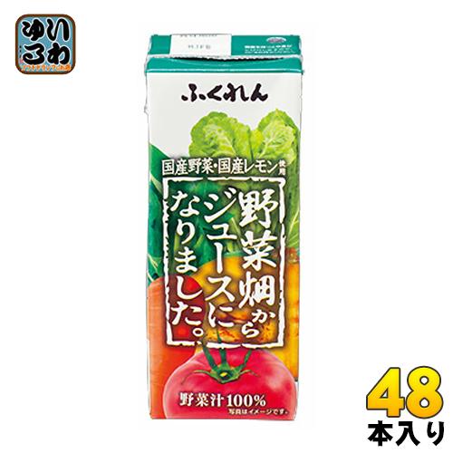 ふくれん 野菜畑からジュースになりました。 200ml 紙パック 48本 (24本入×2 まとめ買い)〔野菜ジュース 国産野菜100% 国産レモン にんじん 〕