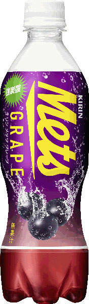 Kirin Mets grape 480 ml pet 24 pieces [strong carbonated grape soda calorie carbonated beverage met's.