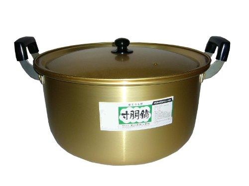 前川金属 アルマイト寸胴鍋 42cm 業務用 家庭用 寸胴鍋 鍋 ビッグサイズ 大型 アルマイト 金色 ゴールド 昔ながら 懐かしい レトロ