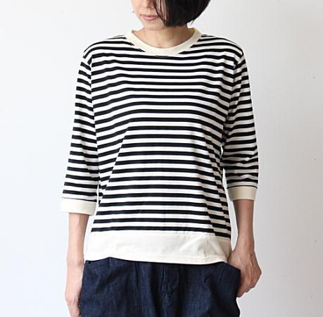 Lilou&Lily(リルアンドリリー)40/2コットンボーダーリバース7分袖Tシャツ