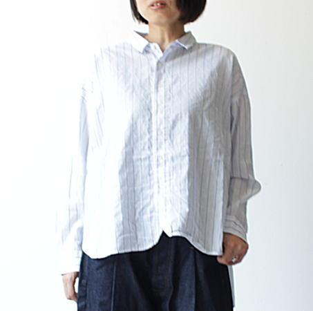 国内送料無料 prit 新生活 プリット コットンリネンバレストライプ長袖レギュラーカラーワイドシャツ