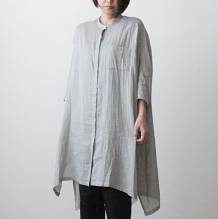 mizuiro-ind(ミズイロインド)ガーゼバンドカラーワイドシャツ