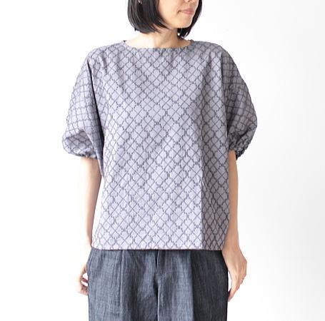 soi-e(ソワ)ダイア柄ウール刺繍コットンプルオーバー