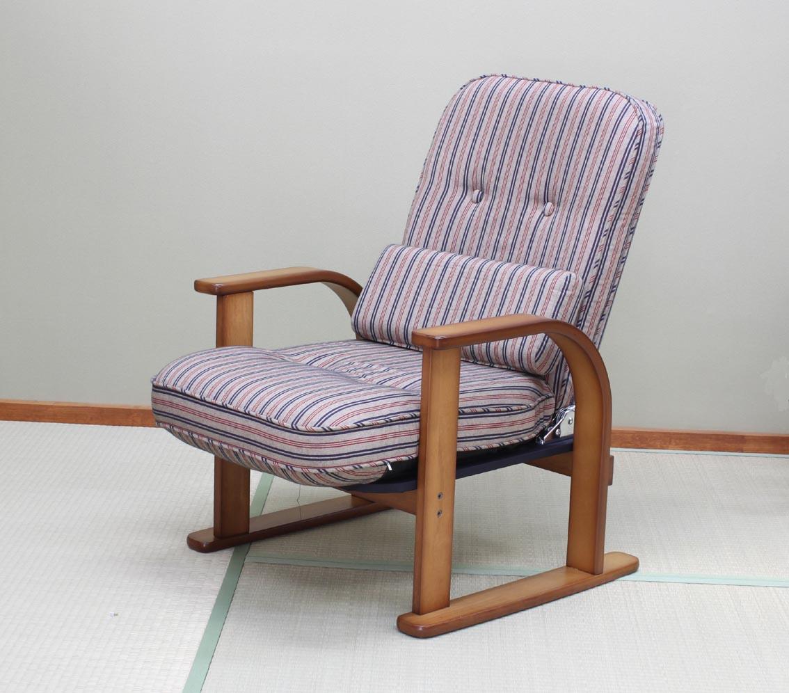 国産 中居木工 木製 肘付き高座椅子 「おやおもい」 ロータイプ リクライニング機能(4段階切替え)