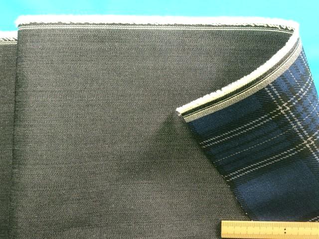中古 綿デニム×プリントチェックリバーシブル生地黒 紺×黒 1.5m 145cm幅 捧呈