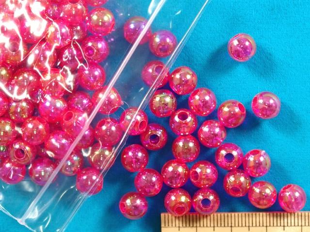 プラ丸ビーズ 数量限定 約8mm タイムセール オーロラ濃ピンク