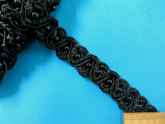 ビーズ付きレーヨンブレード(1.5cm幅 4m巻)黒