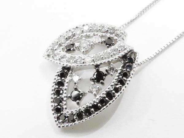 【送料無料】【あす楽対応】 K18WG (18金 ホワイトゴールド) ブラックダイヤモンドネックレス 4949741