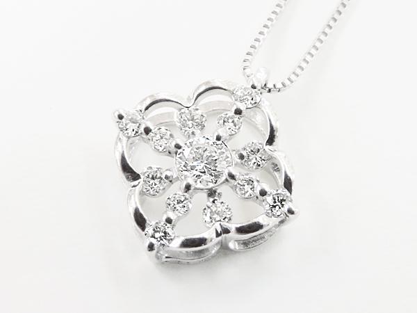 【送料無料】【あす楽対応】K18WG (18金 ホワイトゴールド) ダイヤモンドネックレス
