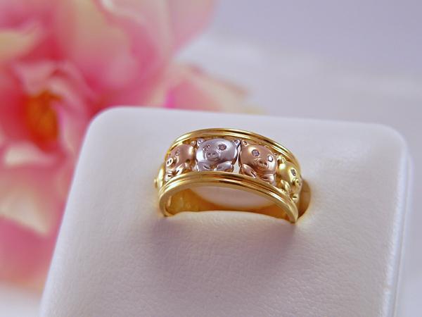【送料無料】K18/プラチナ ダイヤモンドファッションリング ブタ