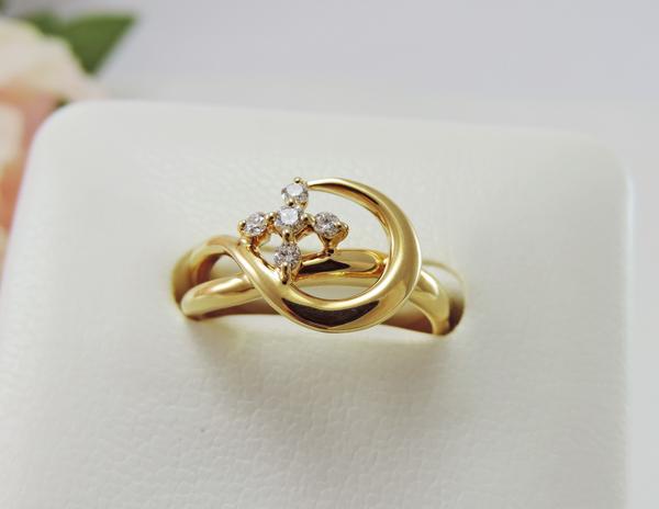 【送料無料】HOSHInoSUNA (星の砂) K18 ダイヤモンドリング