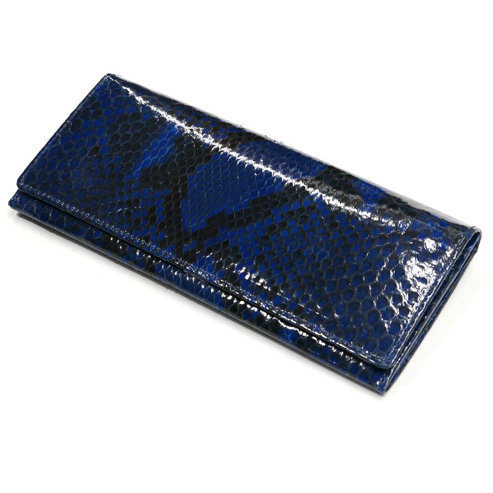 パイソン 長財布 笹マチ型 小銭入れ付 藍染 グレージング