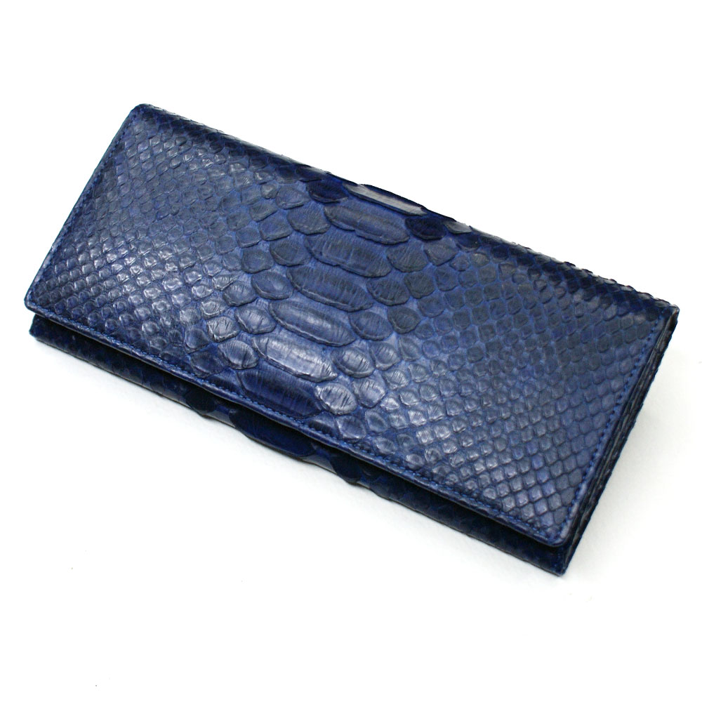 長財布 財布 メンズ レディース 長札 ロング ウォレット パイソン革 蛇革 財布 へび革 笹マチ型 小銭入れ付 藍染