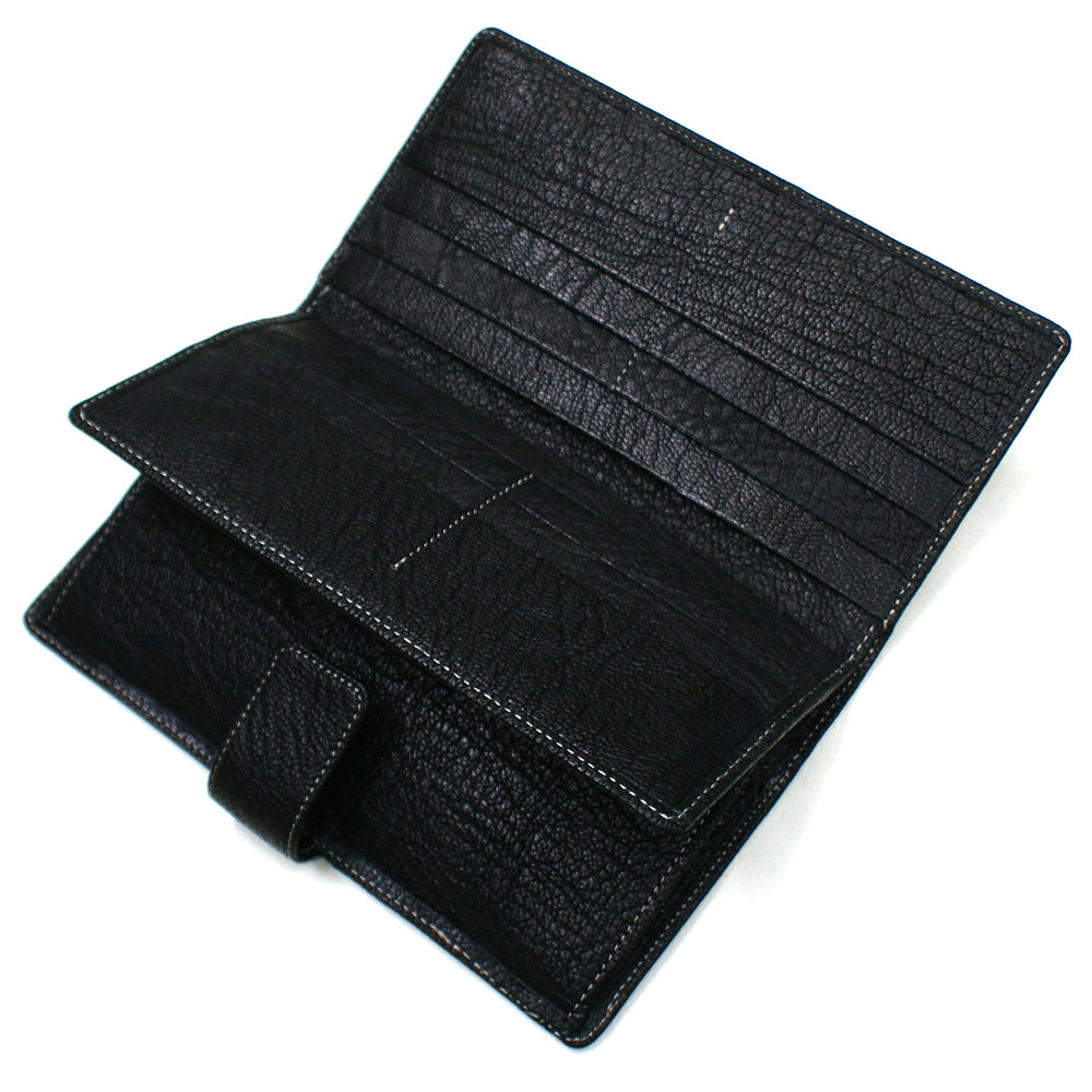 長財布 財布 メンズ財布 レディース財布 ロング ウォレット 山羊革 革 本革 レザー 中ベラ付 小銭入れ付 ブラック