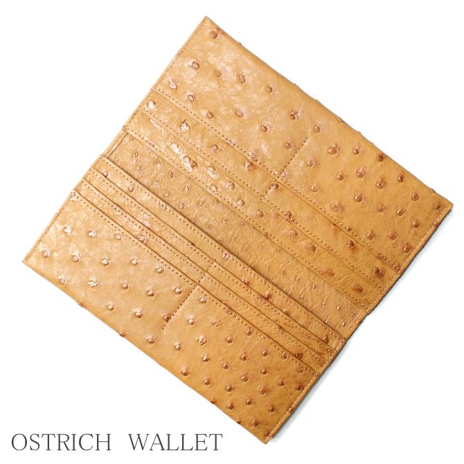 長財布 財布 サイフ メンズ レディース 薄型 長札 オーストリッチ革 駝鳥革 無双仕様 レザー 小銭入れ無し 日本製 キャメル