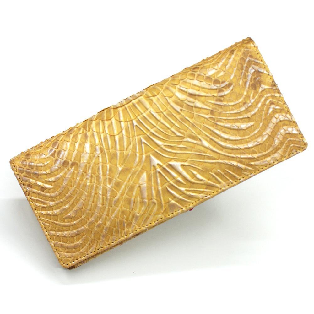 長財布 財布 本革 メンズ財布 レディース財布 長札 ロング ウォレットパイソン革 蛇革 へび革 通しまち型 小銭入れ付 カード収納 日本製 柄 ウェーブ風 イエロー