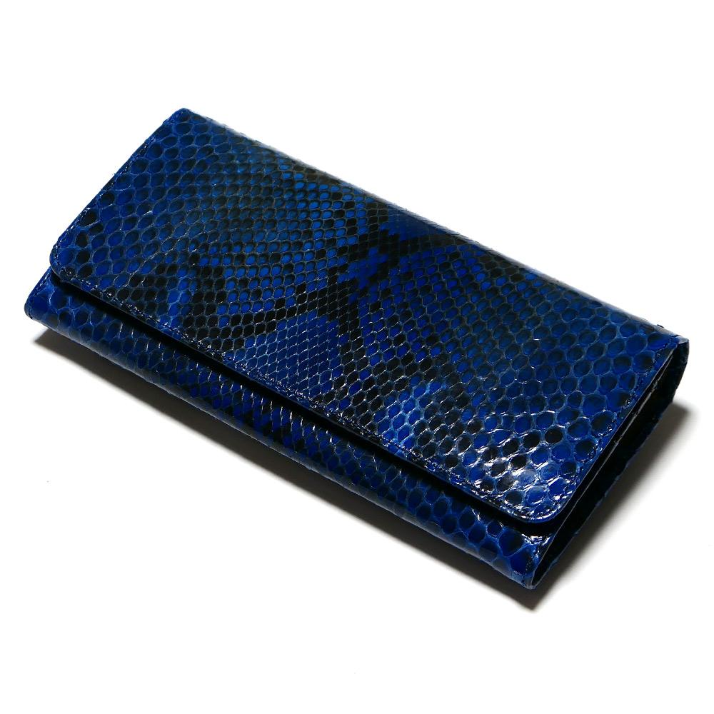 長財布 がま口 かぶせ レディース 本革 パイソン ヘビ革 グレージング 藍染 2