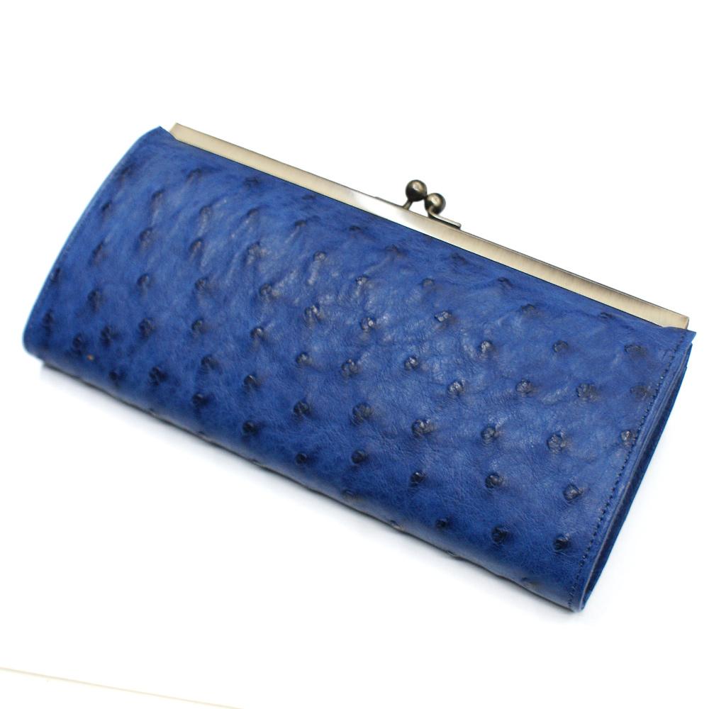 がま口 長財布 レディース がま口財布 オーストリッチ オースト 駝鳥革 本革 本皮 レザー 財布 さいふ サイフ 女性 大容量 仕切収納 長札 日本製 藍染