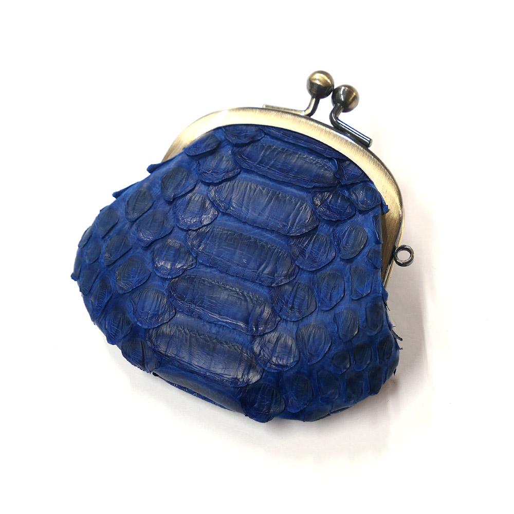 コインケース がま口 レディース コンパクト mini 小さい 小銭入れ がま口財布 パイソン 蛇革 ヘビ革 本革 レザー メンズ 財布 さいふ 日本製 藍染仕上げ