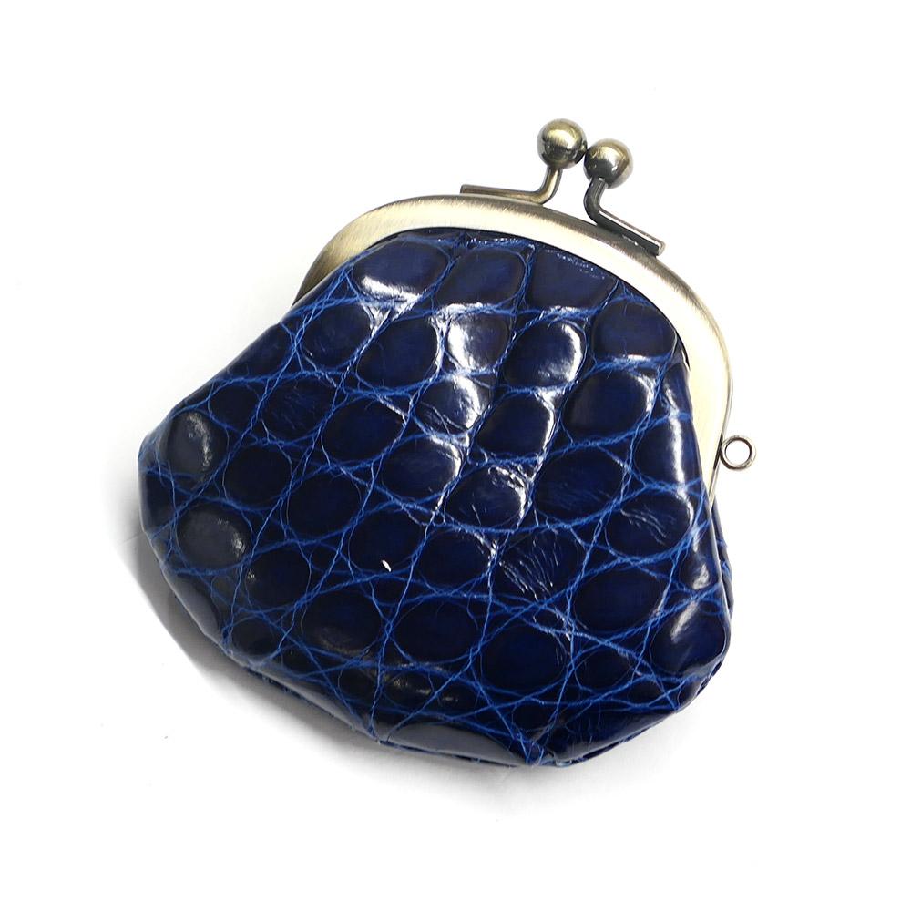 コインケース がま口 レディース コンパクト mini 小さい 小銭入れ がま口財布 クロコダイル 鰐革 ワニ革 本革 メンズ 財布 さいふ 日本製 グレージング 藍染