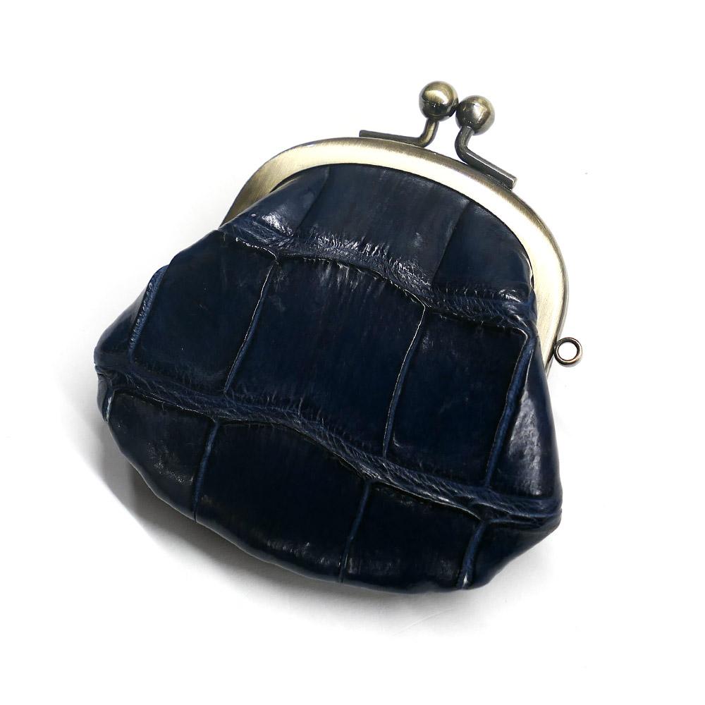 コインケース がま口 レディース コンパクト mini 小さい 小銭入れ がま口財布 クロコダイル 鰐革 ワニ革 本革 メンズ 財布 さいふ 日本製 マット ネイビー