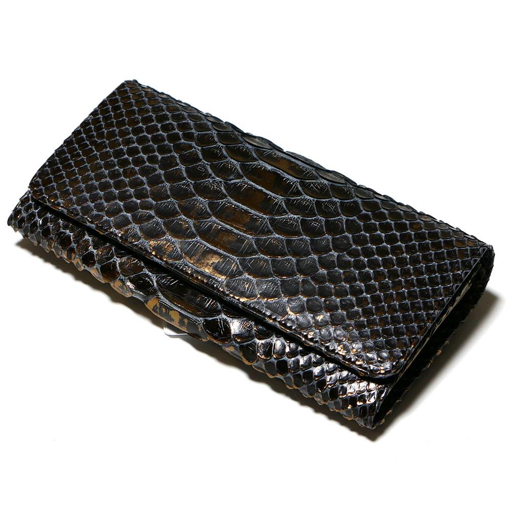 長財布 がま口 かぶせ レディース 本革 パイソン ヘビ革 (P14) ラスター チョコ 2