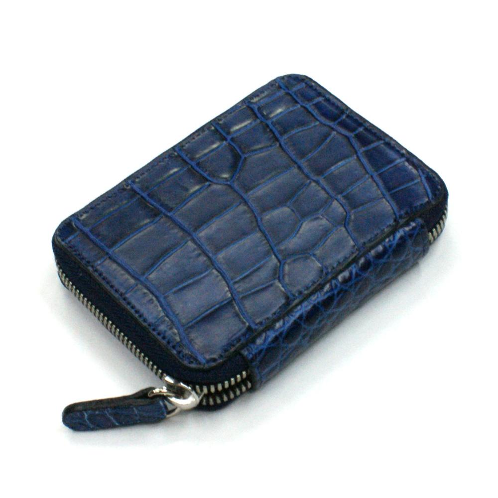 カード入れ 革 カードケース レザー クロコダイル ワニ革 クロコ 日本製 送料無料 ラウンド ファスナー レディース メンズ お札収納可 大容量 藍染め
