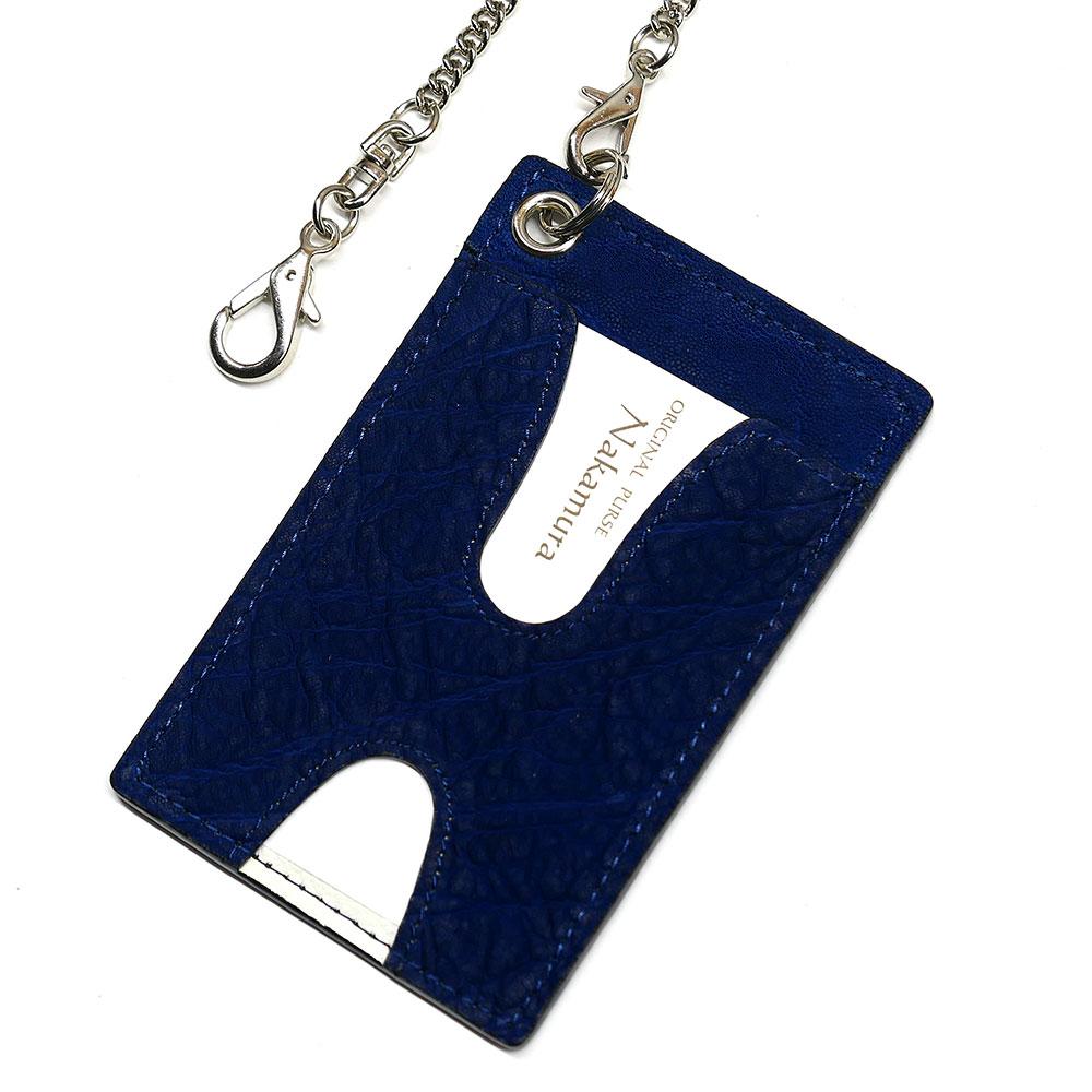 ゾウ革 エレファントレザー 開店祝い 高級な のチェーン付カード入れ idカードホルダー カードケース 革 レザー パス入れ idカードケース 両面窓 プレゼント 社員証 ハトメ 身分証明書 チェーン付 藍染 2