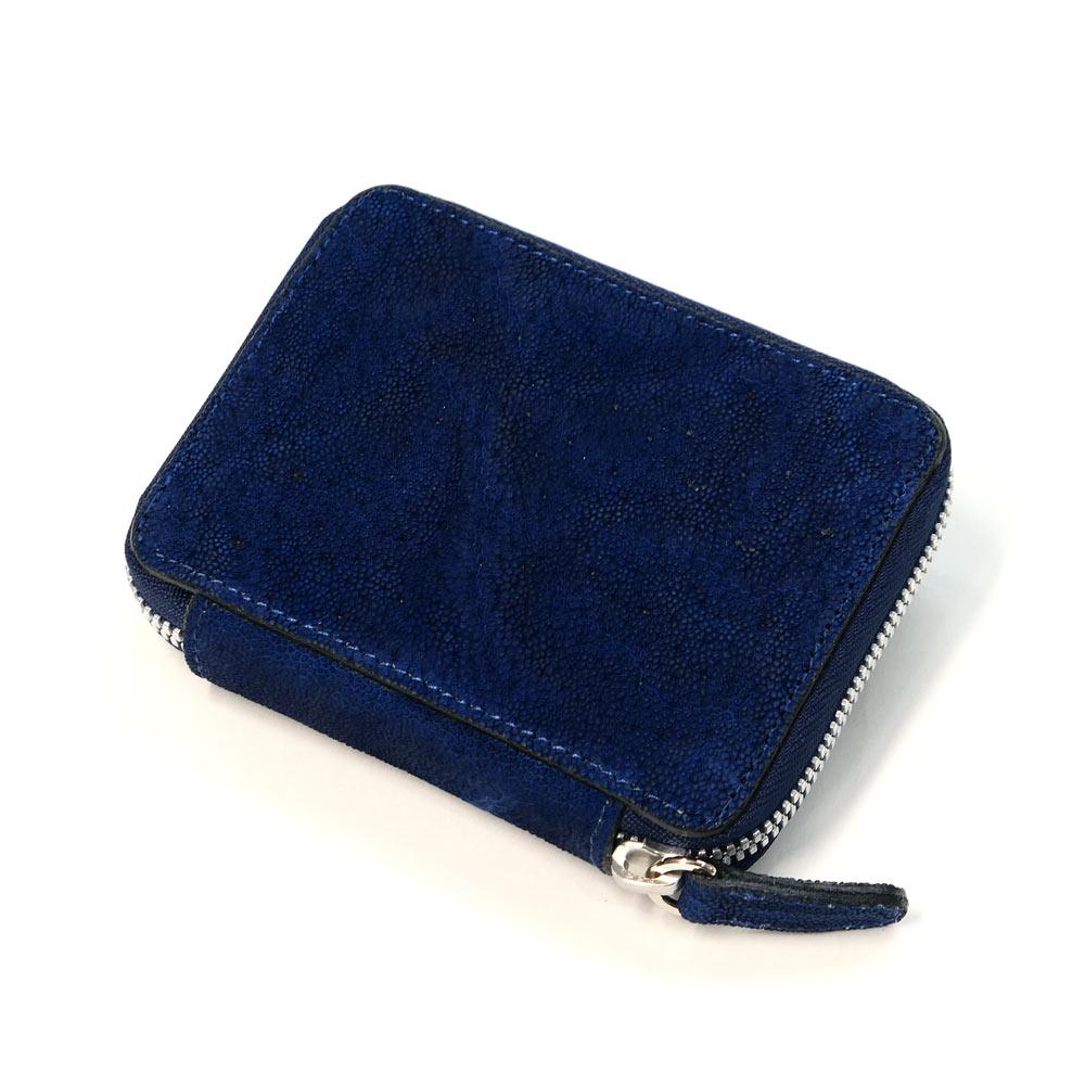 ラウンドファスナー カードケース 本革 エレファント 象革 ゾウ革 藍染
