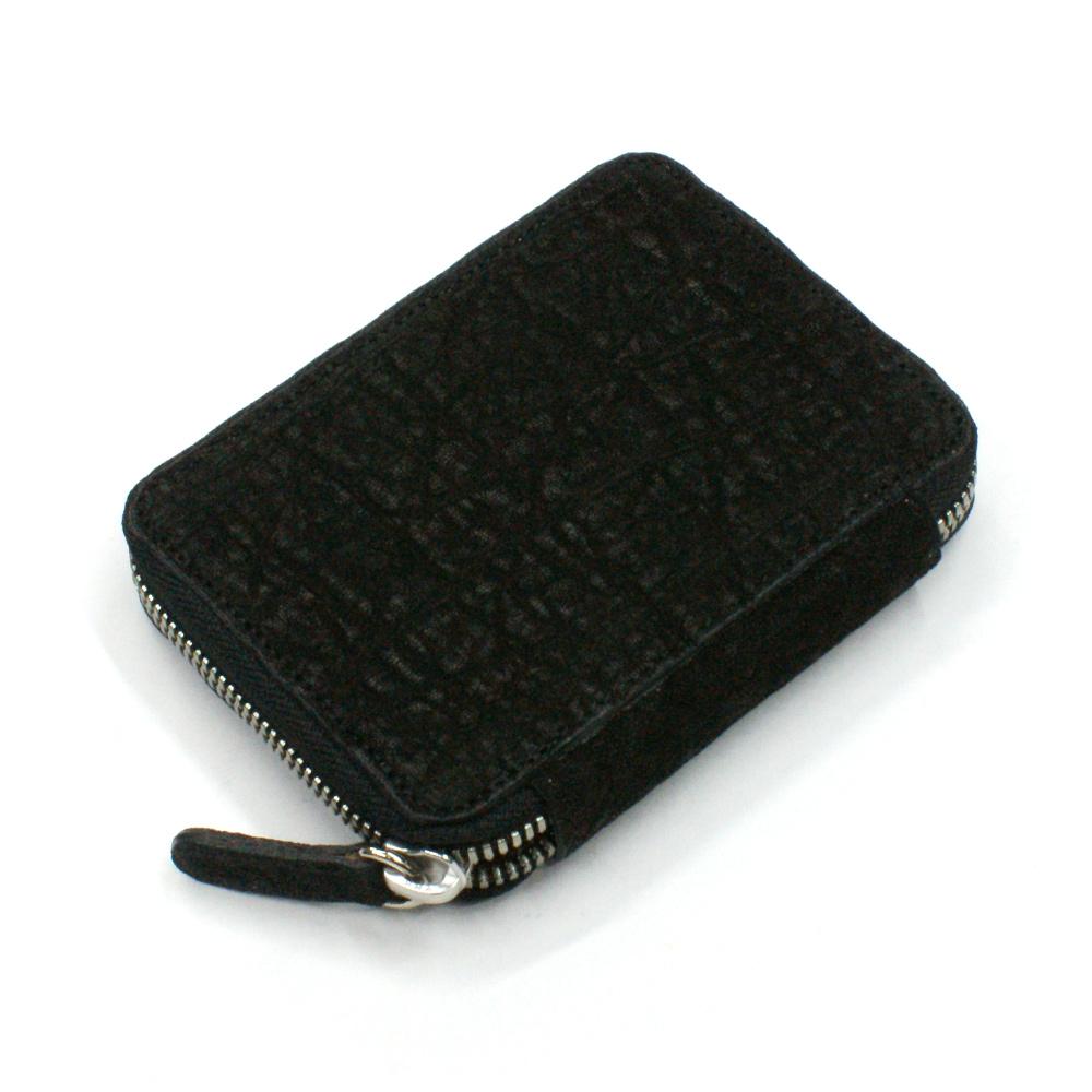 カード入れ 革 カードケース レザー 象革 ゾウ革 エレファントレザー 日本製 送料無料 ラウンド ファスナー レディース メンズ お札収納可 大容量 ブラック