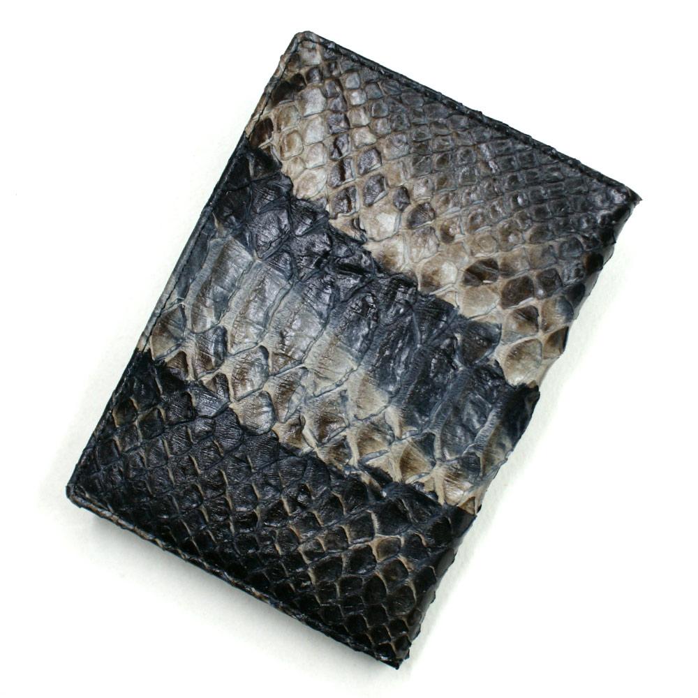 カードケース レディース メンズ パイソン 蛇革 レザー 薄型 大容量 ポイントカード入れ クレジットカード入れ カードホルダー 黒 ハードシェード ブラック