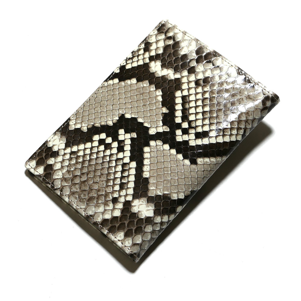 カードケース カード入れ 薄型 大容量 ダイヤモンド パイソン 蛇 ヘビ グレージング ナチュラル