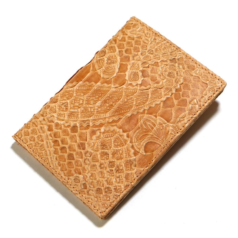 カードケース カード入れ 薄型 大容量 ダイヤモンド パイソン 蛇 ヘビ ペイズリー型押し仕上げ オレンジ