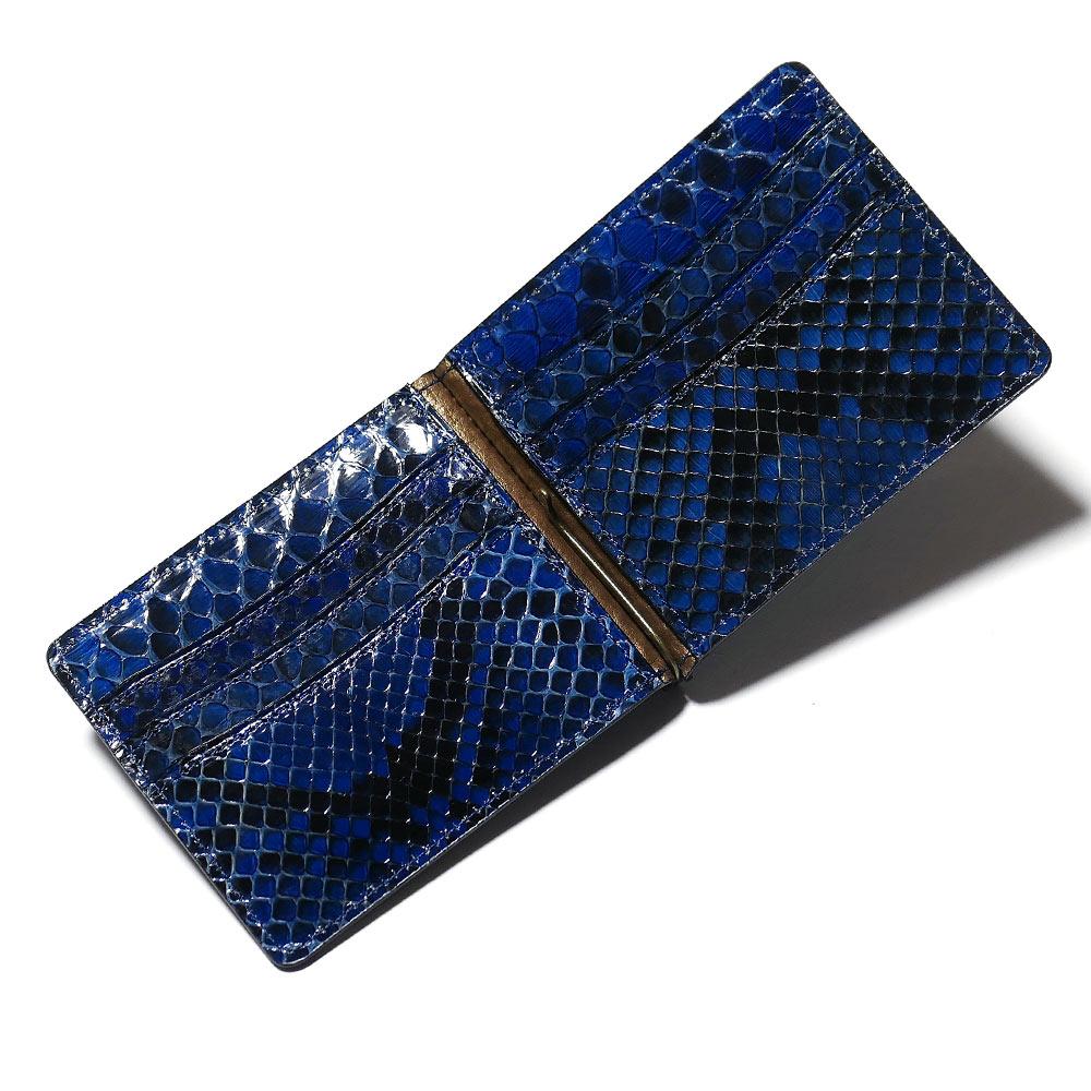 札ばさみ マネークリップ メンズ レディース 薄型 蛇革 パイソン革 ヘビ革 無双仕様 カード収納 グレージング 藍染