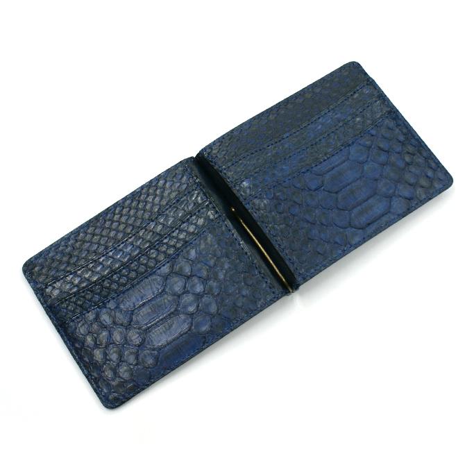 札ばさみ マネークリップ 財布 折り財布 サイフ さいふ メンズ レディース 薄型 蛇革 パイソン革 ヘビ革 無双仕様 カード収納 藍染仕上げ