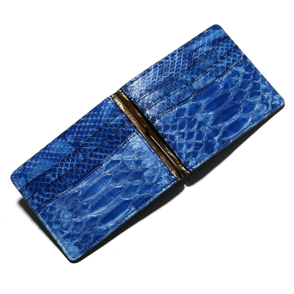 札ばさみ マネークリップ メンズ レディース 薄型 蛇革 パイソン革 ヘビ革 無双仕様 カード収納 簡単収納 日本製 柄 絞り染め 藍染