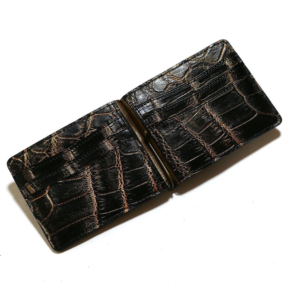 札ばさみ マネークリップ メンズ レディース 薄型 クロコダイル革 ワニ革 無双 カード収納 バリバー ゴールド