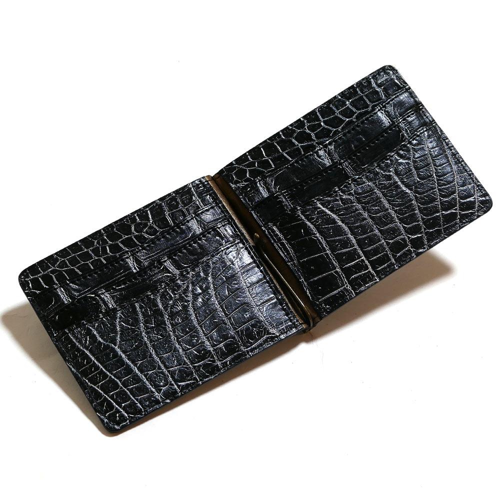 札ばさみ マネークリップ メンズ レディース 薄型 クロコダイル革 ワニ革 無双 カード収納 バリバー シルバー