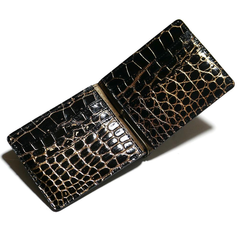 札ばさみ マネークリップ メンズ レディース 薄型 クロコダイル革 ワニ革 無双 カード収納 グレージング バリバー ゴールド