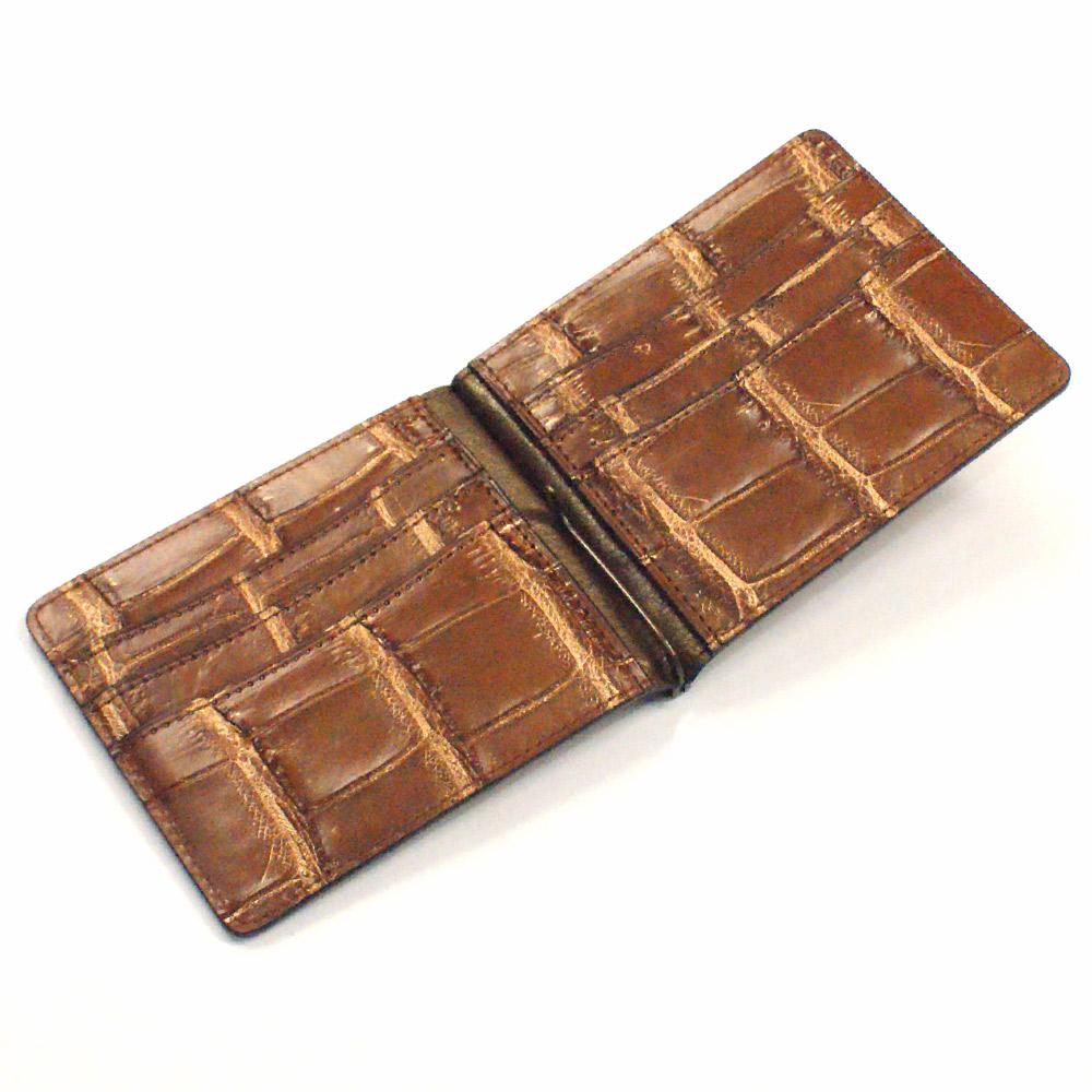 札ばさみ マネークリップ メンズ レディース 財布 折り財布 サイフ さいふ 薄型 クロコダイル革 鰐革 ワニ革 無双仕様 カード収納 ブラウン ゴールド