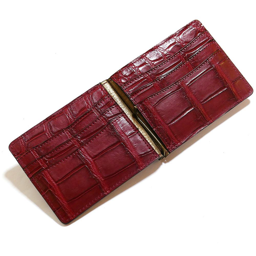 札ばさみ マネークリップ メンズ レディース 薄型 クロコダイル革 ワニ革 無双 カード収納 マット レッド