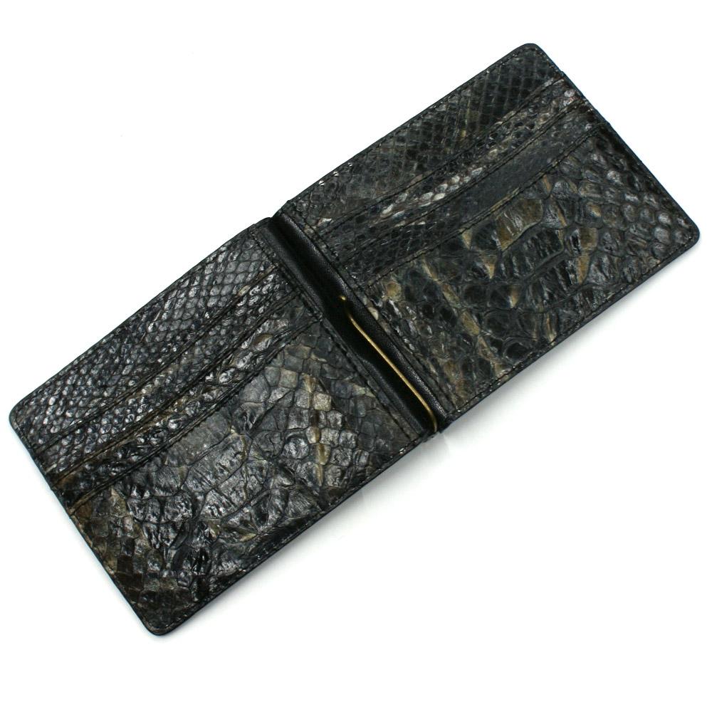 札ばさみ マネークリップ 財布 折り財布 サイフ さいふ メンズ レディース 薄型 蛇革 パイソン革 ヘビ革 無双仕様 カード収納 ハードシェード ブラック