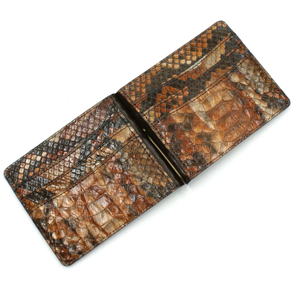 札ばさみ マネークリップ 財布 折り財布 サイフ さいふ メンズ レディース 薄型 蛇革 パイソン革 ヘビ革 無双仕様 カード収納 ハードシェード チョコ